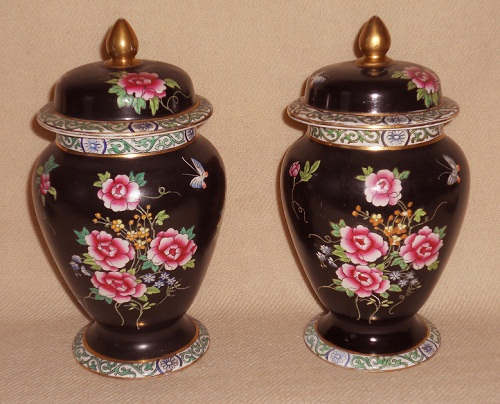 Pair Temple Jars Famille Rose pink